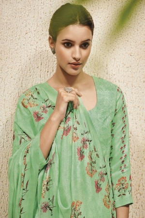 Mint Green Cotton Satin Salwar Kameez