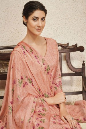 Peach Cotton Satin Salwar Kameez