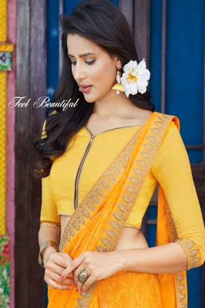 Yellow Chiffon Saree with Blouse