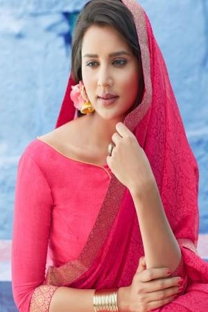 Rani Pink Chiffon Saree with Blouse