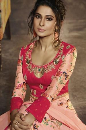 Jennifer Peach Slub&Chanderi Silk Salwar Kameez