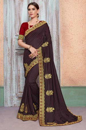 Dark Brown Vichitra Silk Saree with Blouse