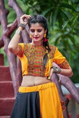 Yellow & Black Soft Cotton Lehenga Choli
