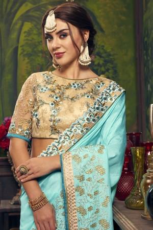 Sky Blue Dola Silk Saree with Blouse