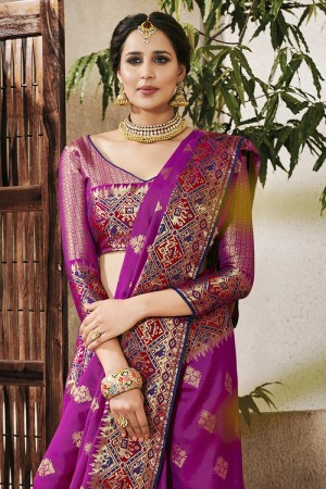 Magenta Silk Saree with Blouse