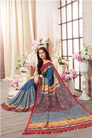 Multi Color Kanjeevaram Silk Saree with Blouse