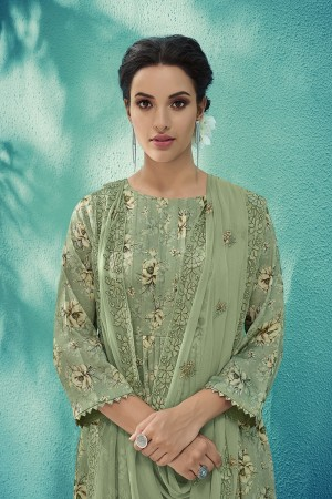 Olive Cotton Satin Salwar Kameez