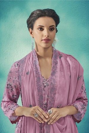 Lavender Cotton Satin Salwar Kameez