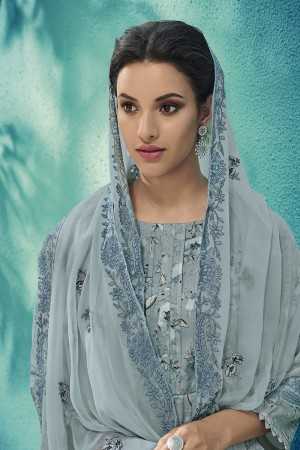 Sapphire Cotton Satin Salwar Kameez