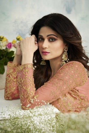 shamita shetty Orange Butterfly Net Salwar Kameez