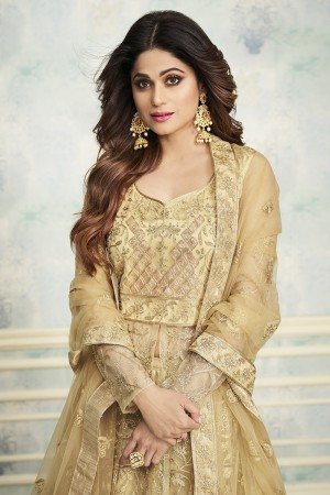 shamita shetty Golden Butterfly Net Salwar Kameez