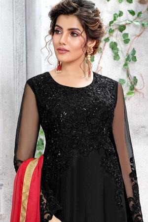 Black Butterfly Net Salwar Kameez