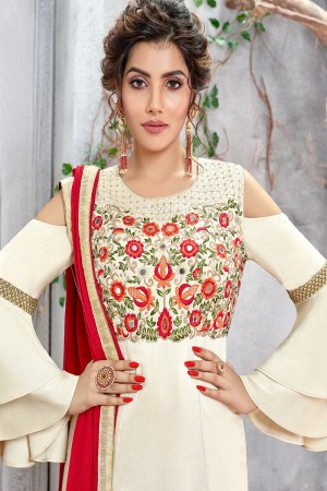 Off White French Silk Salwar Kameez