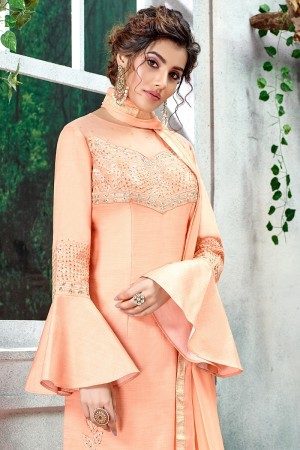 Peach French Silk Salwar Kameez