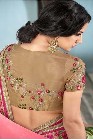 Green & Pink Silk Saree with Blouse