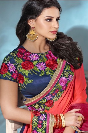 Maroon&LightOrange Moss Chiffon Saree with Blouse