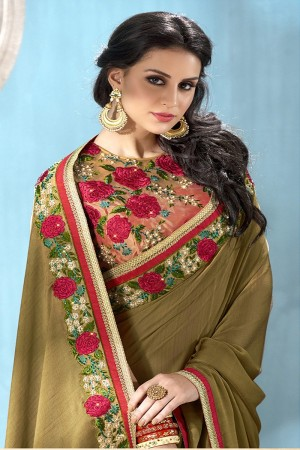 Rich Ecru Moss Chiffon Saree with Blouse
