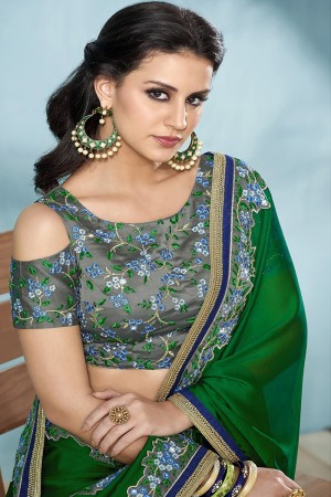 DarkGreen Silk Saree with Blouse