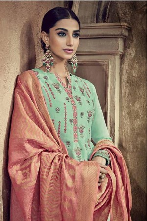 Mint Viscose Cotton Silk Semi Stitch Salwar Kameez