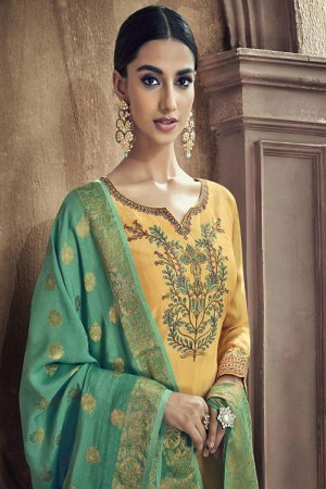 Yellow Viscose Cotton Silk Semi Stitch Salwar Kameez
