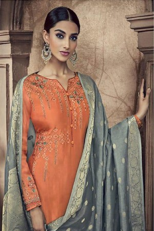 Orange Viscose Cotton Silk Semi Stitch Salwar Kameez