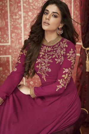 Rani Pink Georgette Semi Stitch Salwar Kameez