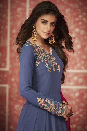 Purple Georgette Semi Stitch Salwar Kameez