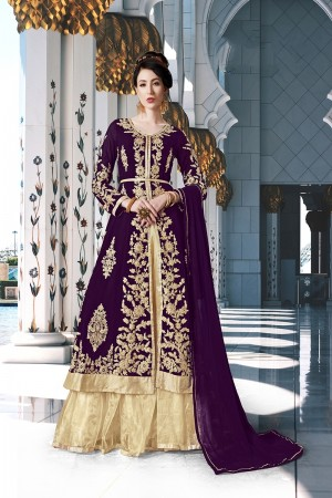 Wine Georgette Semi Stitch Salwar Kameez