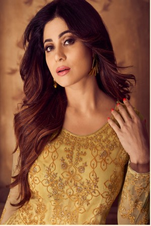 shamita shetty Yellow Net Semi Stitch Salwar Kameez