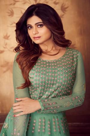 shamita shetty Mint Net Semi Stitch Salwar Kameez
