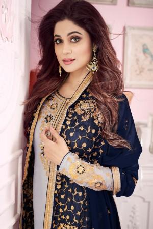 shamita shetty Grey Georgette Semi Stitch Salwar Kameez