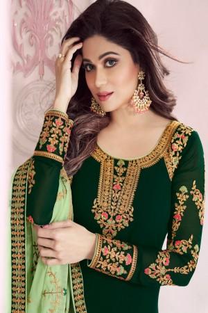 shamita shetty Dark Green Georgette Semi Stitch Salwar Kameez