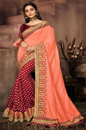 Fenta&Maroon Satin Georgette Saree with Blouse