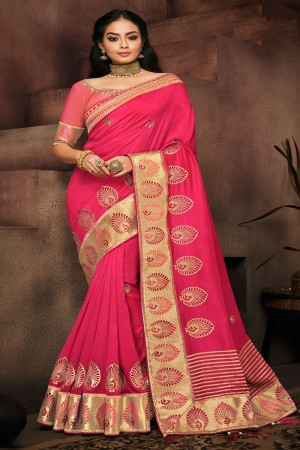 Rani Pink Satin Georgette Saree with Blouse