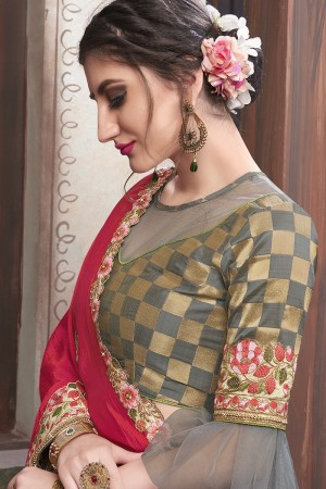 Red & Grey Georgette & Silk Saree with Blouse
