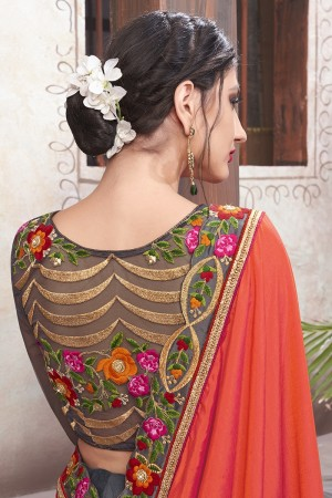 Orange & Grey Georgette & Silk Saree with Blouse
