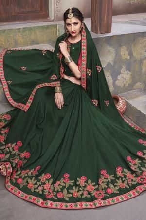 Dark Green Georgette & Silk Saree with Blouse