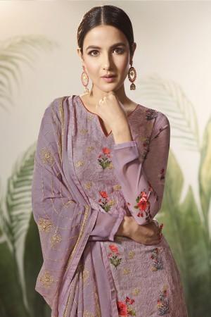Lavender Georgette Semi Stitch Salwar Kameez