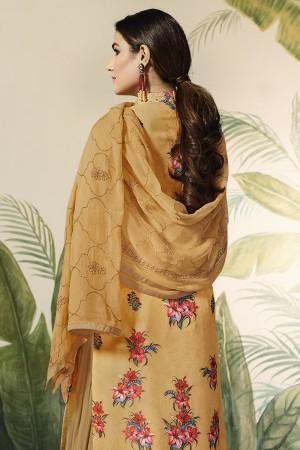 Mustard Georgette Semi Stitch Salwar Kameez