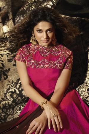jennifer winget Rani Pink Banarasi Two Tone Silk Salwar Kameez