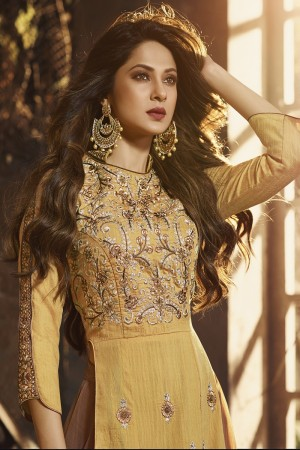 jennifer winget Yellow Silk Salwar Kameez