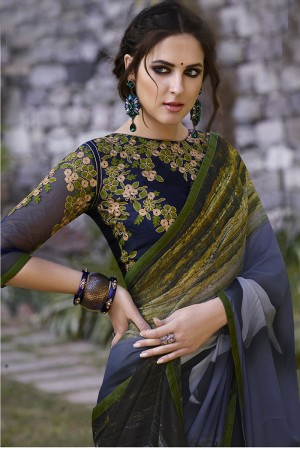 Graceful Grey Georgette Embroidery Blouse with Hand Printed Saree
