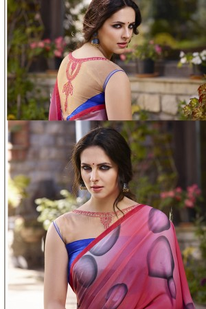Captivating Pink &n Blue Georgette Embroidery Blouse with Hand Printed Saree
