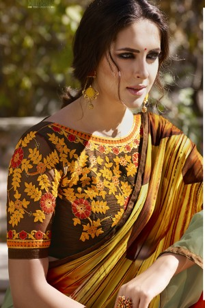 Luscious Multicolor Georgette Embroidery Blouse with Hand Printed Saree