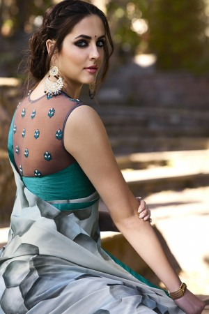 Glitzy Grey Georgette Embroidery Blouse with Hand Printed Saree
