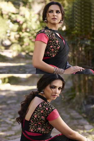 Ethnic Black Georgette Embroidery Blouse with Hand Printed Saree