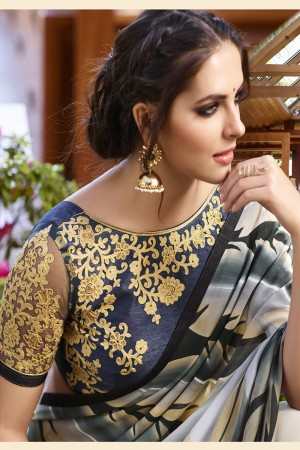 Ambitious Multicolor Georgette Embroidery Blouse with Hand Printed Saree