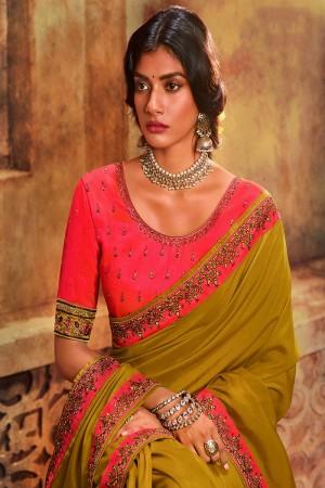 Mustard Silk Saree with Blouse