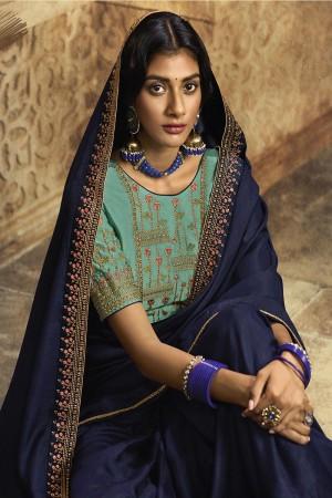Navy Blue Silk Saree with Blouse