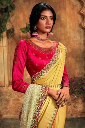 Light Yellow Silk Saree with Blouse